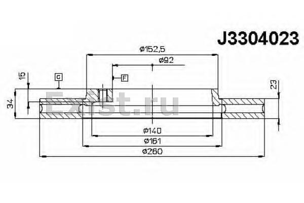 J3314007 диск тормозной задний